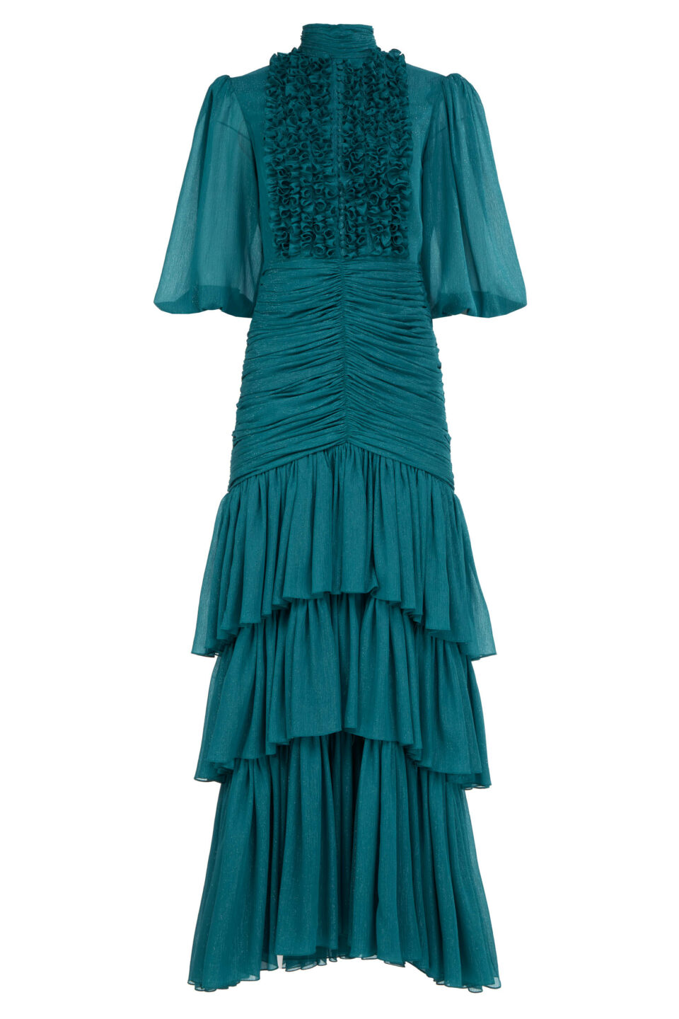 Natalie FW2133 Green Lurex Crinkle Chiffon Tiered Dress with Ruffled Keyhole Bodice & Ruched Details