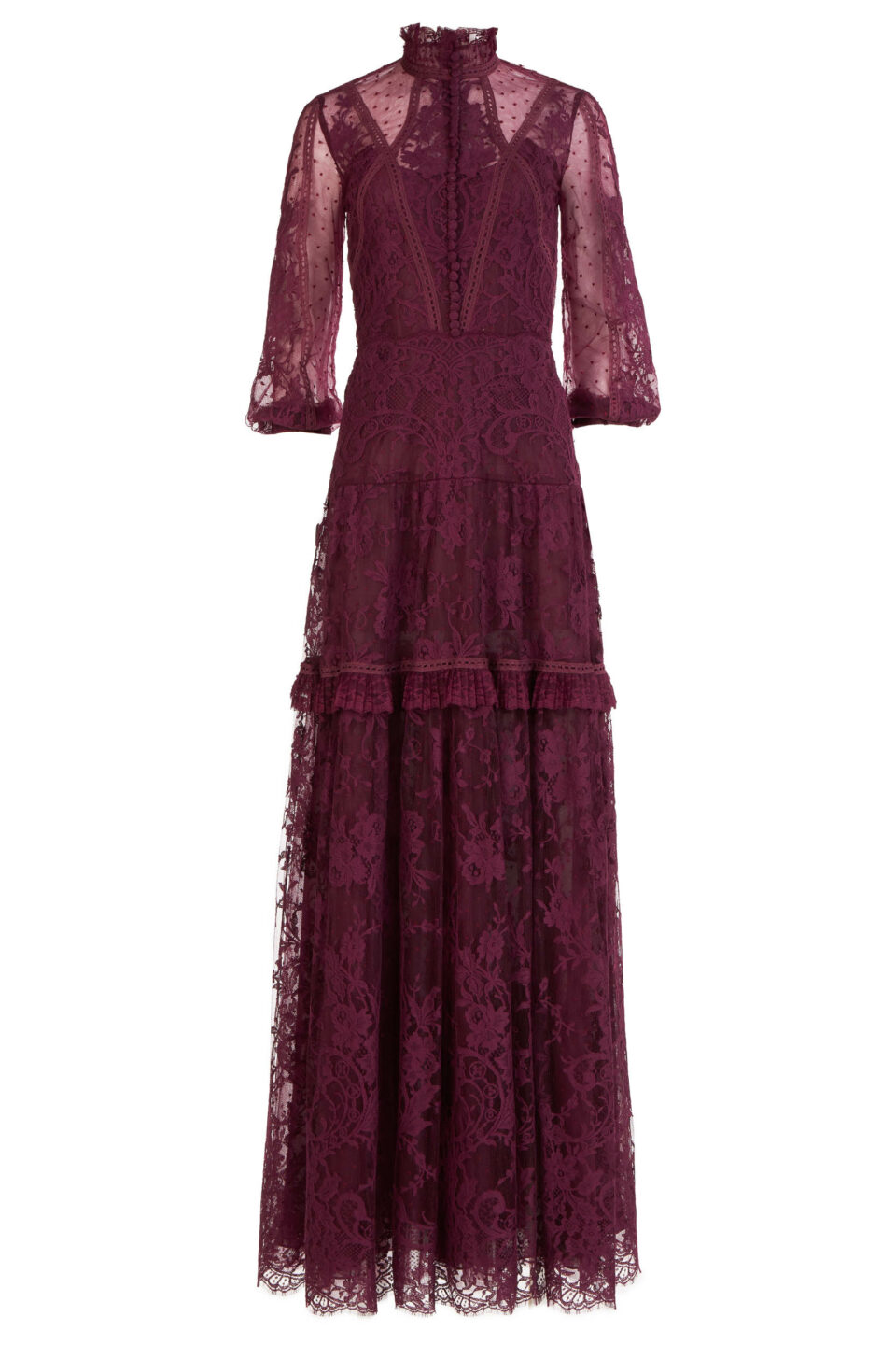 Anastasia FW2151 cherry red Dotted French Tulle & French Lace Gown with Buttoned Bodice & Ruffled Neck