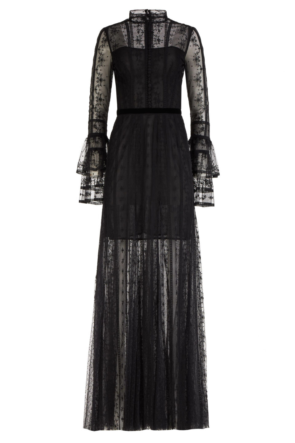Scarlett FW2160 Black Embroidered French Tulle Gown with Inner Mini Dress & Layer Fluted Sleeves