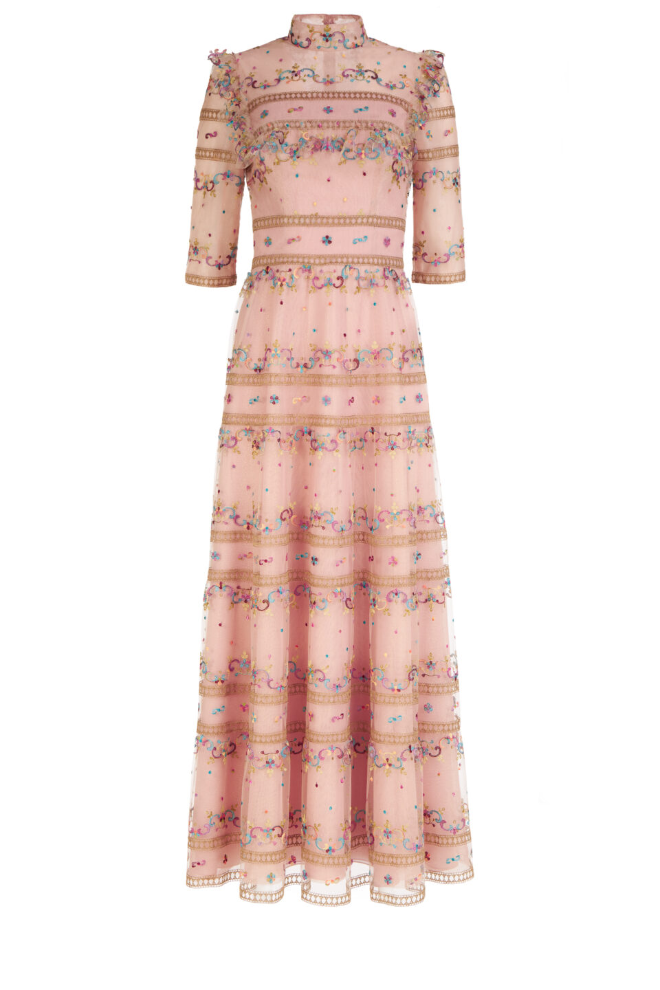 Scarlett FW2164 Pink Embroidered French Tulle Mock-Neck Dress with Three-Quarter Sleeves & Ruffle Detail