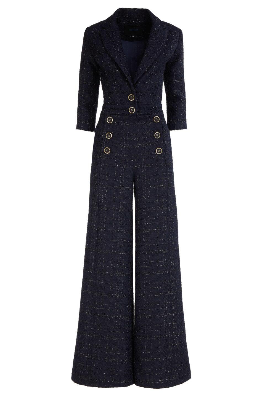 Emilia FW2113 Tweed Button-Embellished Wide-Leg Jumpsuit with Notch Lapel & Lurex Detail