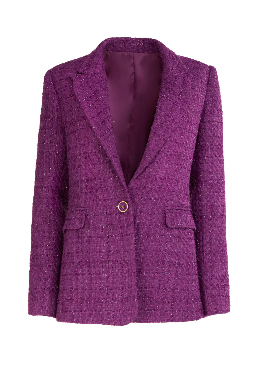 Emilia FW2116 Purple Tweed Tailored Blazer with Notch Lapel & Lurex Detail