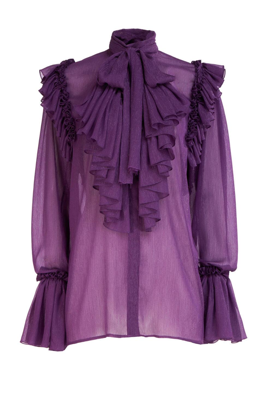 Natalie FW2130 Purple Lurex Crinkle Chiffon Ruffled PussybowBlouse with Poet Sleeves & Keyhole Neckline