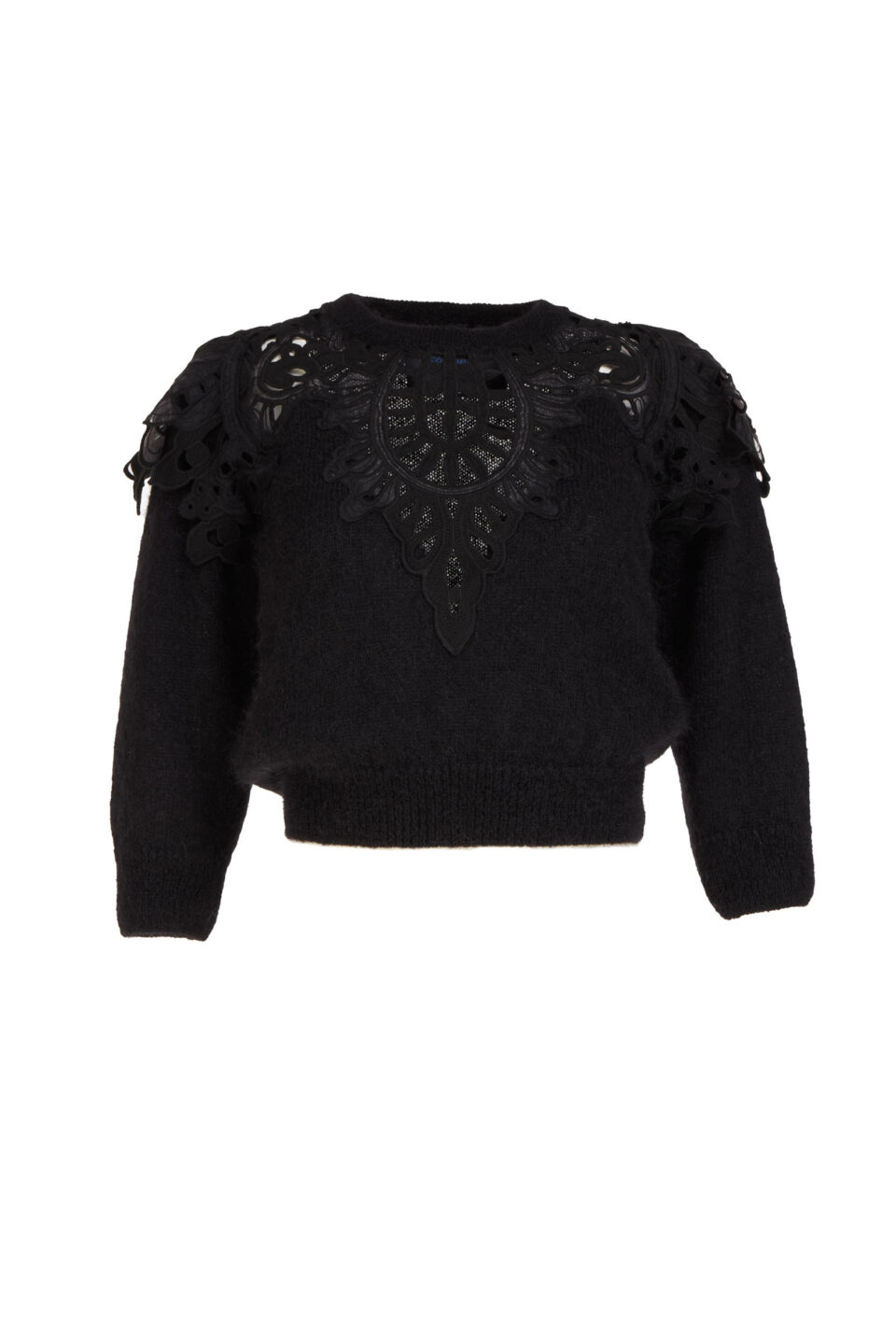 Olivia FW2180 Black Sustainable Mohair Cropped Knit Sweater with Embroidered Lace Appliques