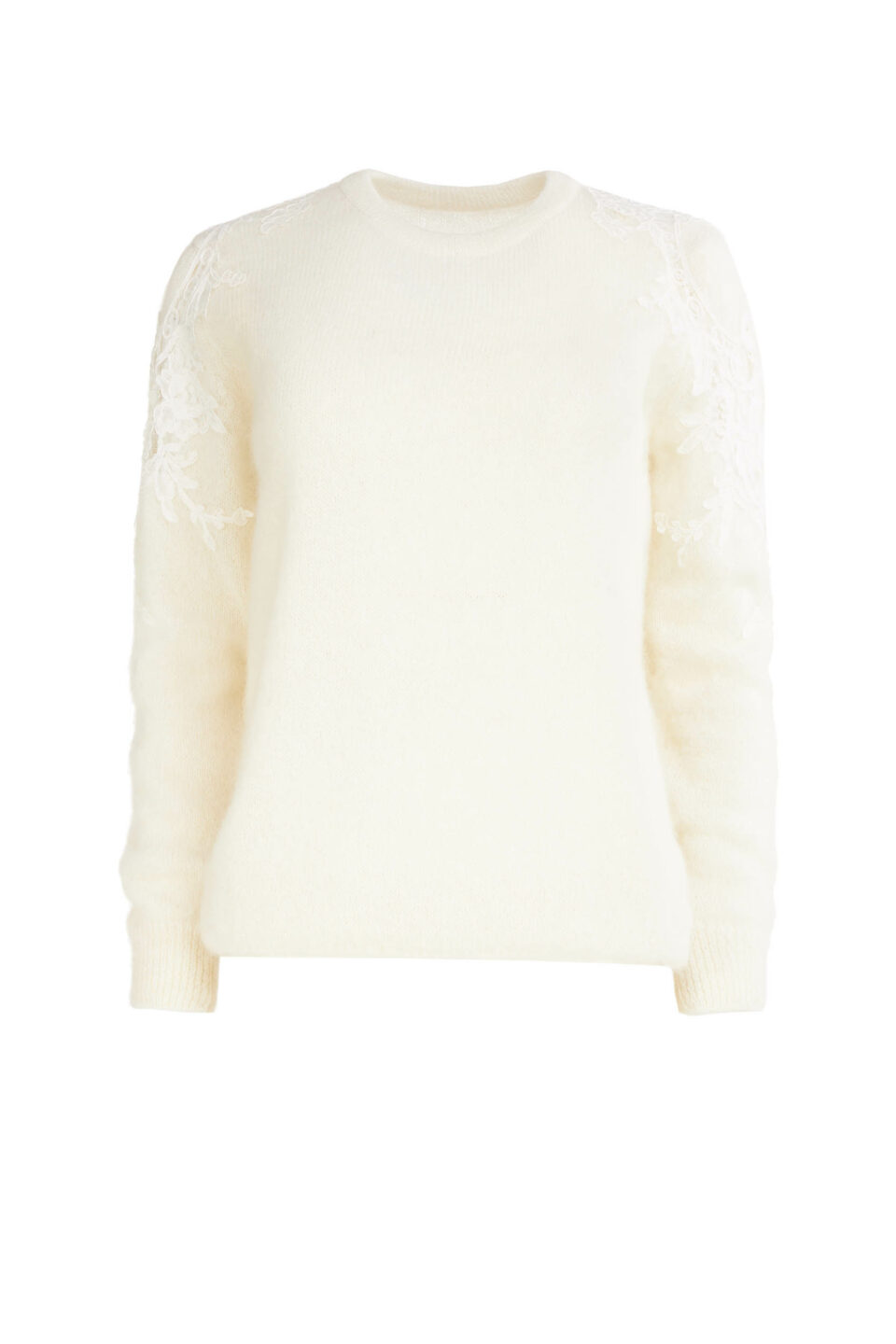 Mattie FW2181 White Sustainable Mohair Knit Sweater with Corded Lace Shoulder Appliques