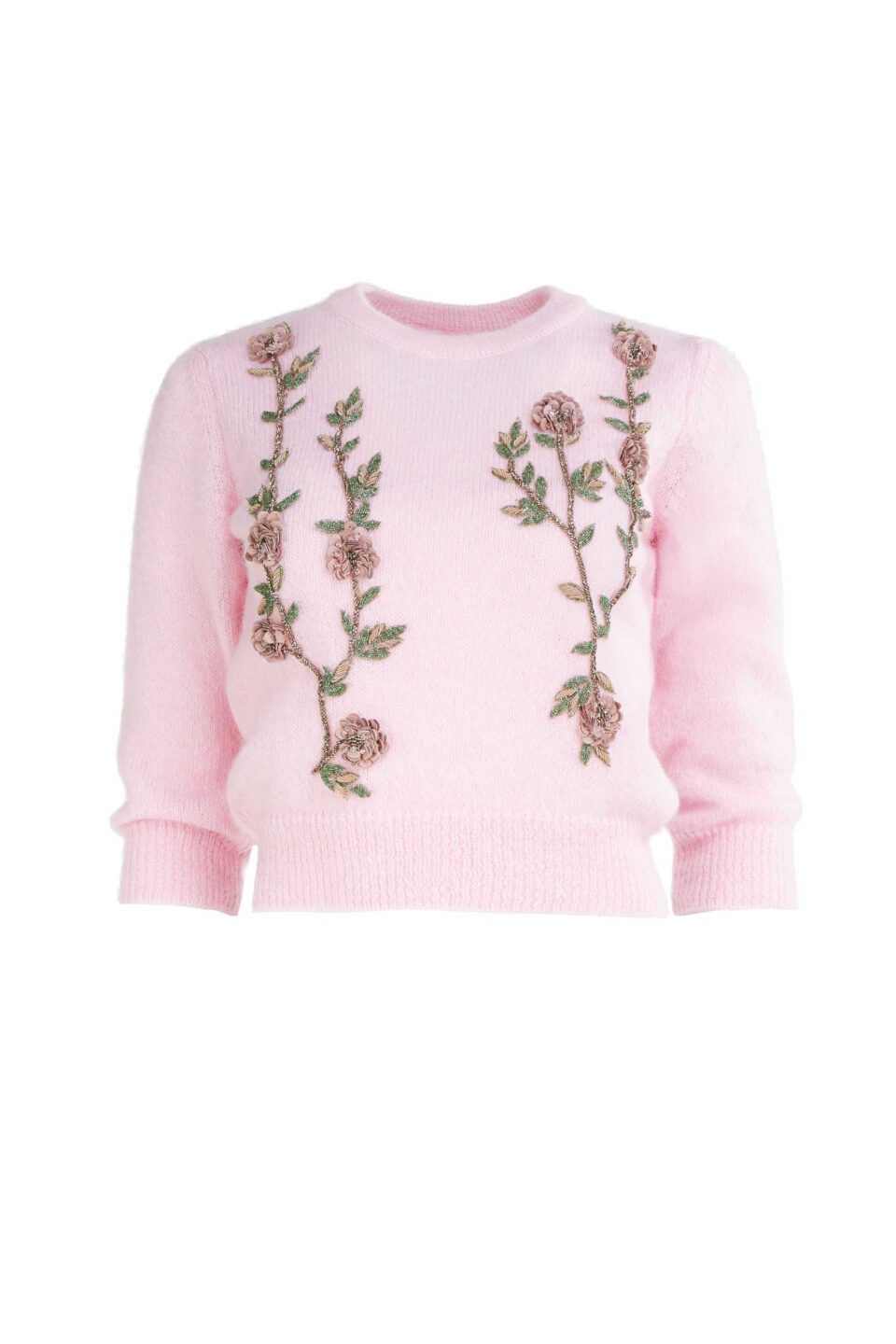 Olivia FW2183 Pink Sustainable Mohair Knit Sweater with Beaded Flower Appliques