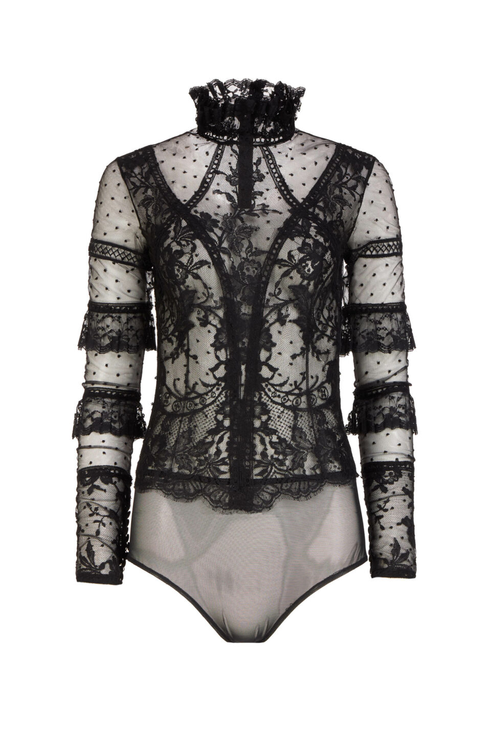 Anastasia FW2153 Black Dotted French Tulle & French Lace Bodysuit with Ruffle Details
