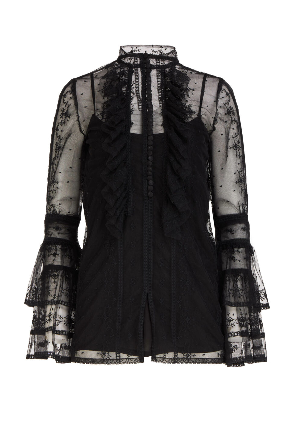 Scarlett FW2163 Black Embroidered French Tulle Buttoned Blouse with Layered Fluted Sleeves