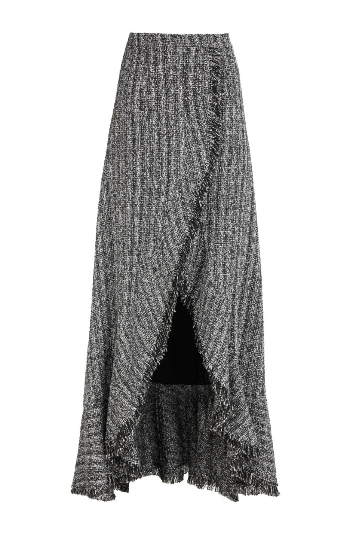 Addison FW2173 Cotton-Blend Tweed Faux-Wrap Skirt with Ruffle Edge