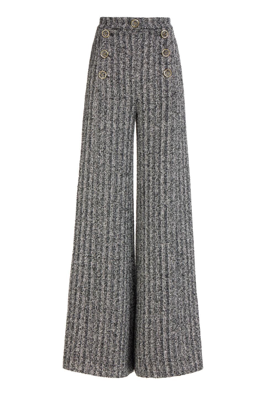 Addison FW2171 - Grey Wide-leg cotton tweed pants
