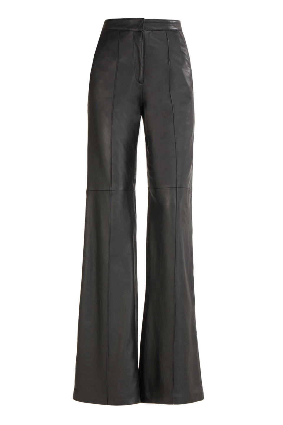 Denie FW2190 Black Lamb-Skin leather trousers with pintuck seams